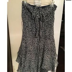 Ann Taylor Dress Sz 2 Silk Chiffon Strapless Navy